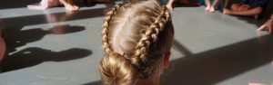 Plaited hair ready for dancing